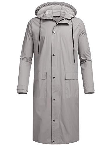 COOFANDY Men's Rain Jacket with Hood Waterproof Lightweight Active Long Raincoat