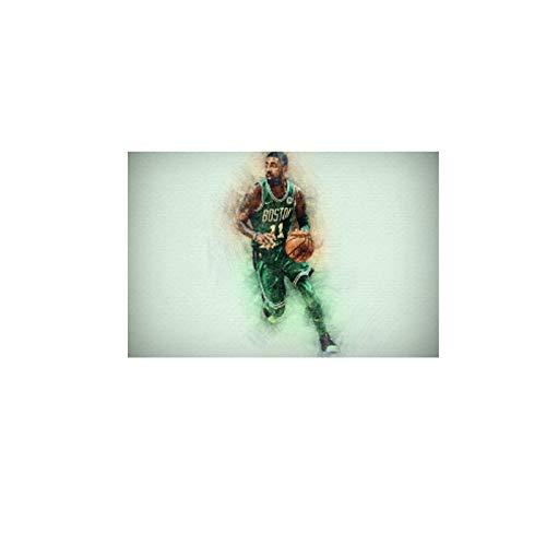 Gigoo NBA Basketball Legend Kyrie Irving Boston Celtics NBA Star Decoración para el hogar Sala de Estar Arte de la Pared Posters Impresión en Lienzo 60x90cm sin Marco
