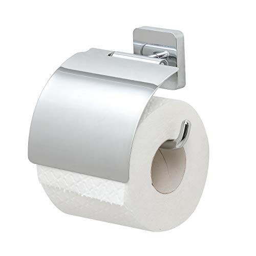 Tiger Onu Toilettenpapierhalter mit Deckel, Edelstahl Chrom, 13 x 12,6 x 4,2 cm