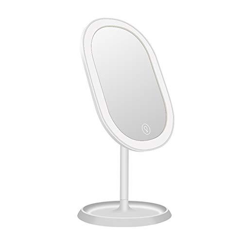 Espejo de Maquillaje LED Espejo de vanidad de Maquillaje led Recargable con Espejo Iluminado Iluminado con Pantalla táctil con atenuación 180 ° Rotación Ajustable Fuente de alimentación USB