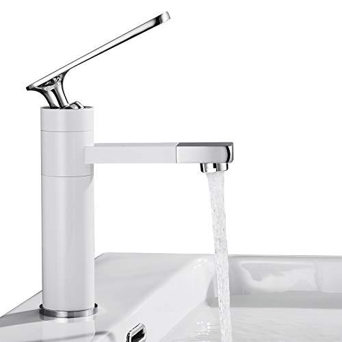 BONADE Bianco Rubinetto Lavabo Bagno Becco Girevole a 360 ° Miscelatore Monocomando per Lavabo/Lavandino/Bagno Ottone