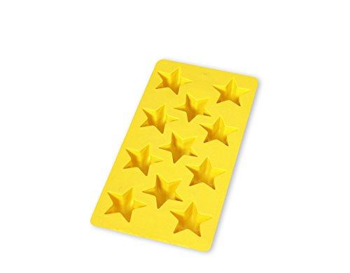 Lékué Eiswürfelform Sterne für 11 Eiswürfel in gelb, Natürliches Gummi, 22 x 11,4 x 2,6 cm