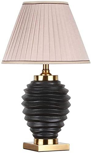 JAOSY Lámpara de Mesa de cerámica de Estilo nórdico, lámpara de cabecera Minimalista Moderna, Dormitorio, Hotel, decoración Negra, 36x60 cm