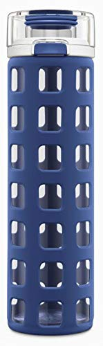 Ello Syndicate Glass Water Bottle with One-Touch Flip Lid, Bold Blue , 20-ounce
