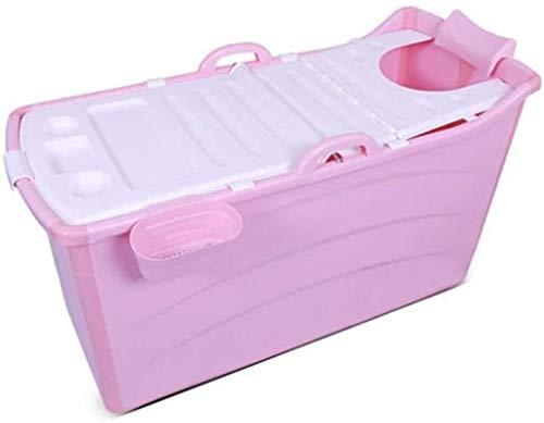 FANLIU Badewanne Komfortabler Erwachsene Badewanne, Haushalt Kinder Badewanne, tragbare Falten-Badebottich, Lange Isolationszeit mit Deckel (Pink) (Color : #2)