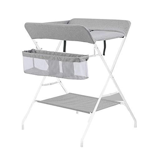Wickeltisch klappbar mit 2 Wickelunterlagen, Kindergarten und Windelpflege-Organizer zum Aufhängen von Babys mit Schlauch (Farbe: GRAU)