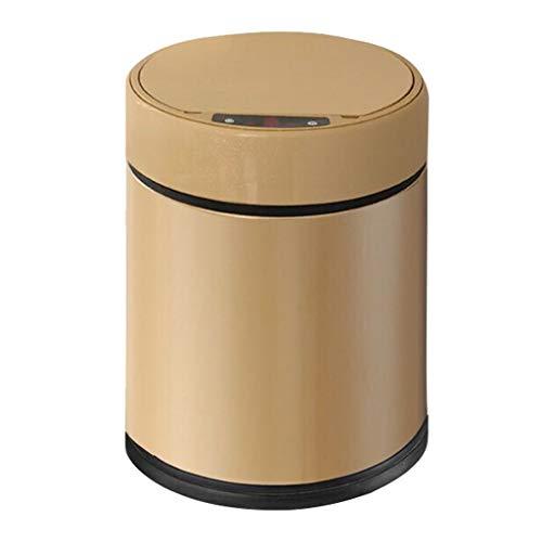GAOXINDONG Wohnzimmer-Küche-Mülleimer,Intelligente Induktion Stummer Mülleimer Automatischer Edelstahleimer , Badezimmer-Toilette Innenrecycling-Behältergold 9L