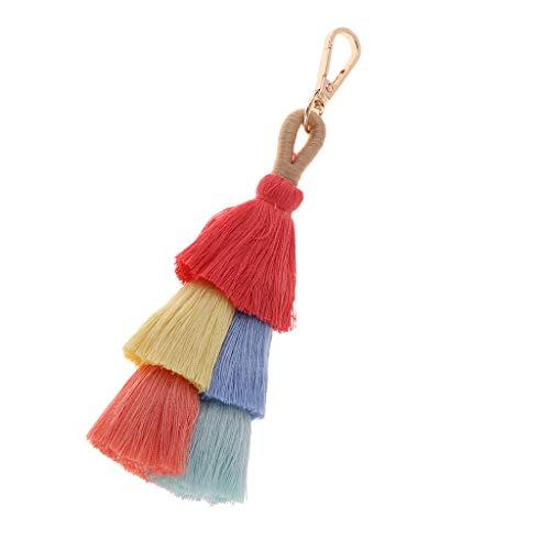 Generic Colorido Boho Pom Pom Tassel Bag Charm Llavero Invierno Mujer Bolsa Colgante, Coche