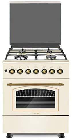 Larel - Cocina 60 x 60 cm, 4 fuegos ACC ELET, horno de gas ventilado, rústico, parrillas de hierro fundido