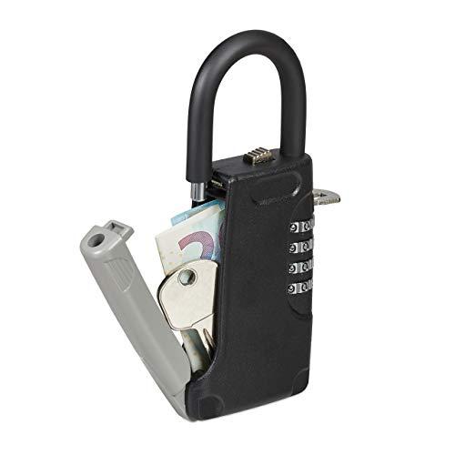 Relaxdays Schlüsseltresor mit Bügel, 4-stelliger Zahlencode, außen, Schlüsselsafe klein, HxBxT: 14,5 x 6 x 2 cm, schwarz, 1 stück, 10028713