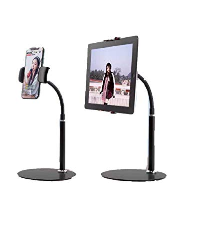 "AllDay MrC Tablet & Phone Stand, Angle Height Adjustable 360 Degree Rotating Flexible Arm Stand Clamp Mount, Upgraded Metal Stable Base Holder for 4.7"" to 12.9"" Tablets and All Smartphones-Black"