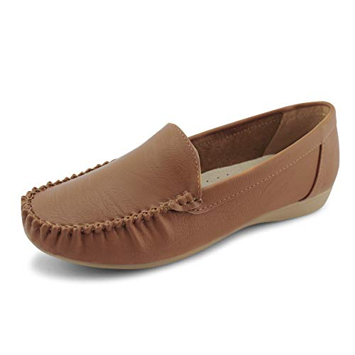 JABASIC Women Slip On Loafers Casual Breathable Walking Flat Shoes (6,Brown)