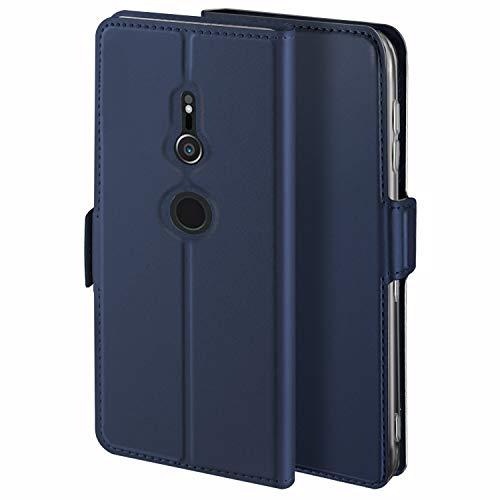 HoneyHülle für Handyhülle Sony Xperia XZ2 Hülle Leder Premium Tasche Hülle für Sony Xperia XZ2, Schutzhüllen aus Klappetui mit Kreditkartenhaltern, Ständer, Magnetverschluss, Blau