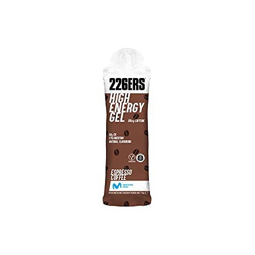 226ERS High Energy Gels | Gel Energético Vegano con Ciclodextrina como Hidrato de Carbono y 80 mg de Cafeína, Gel Enérgetico Ciclismo y Running Doping Free, Café Expresso, 24 unidades