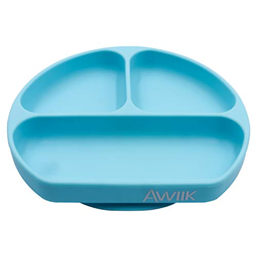 AWIIK – Plato de Silicona con fuerte Ventosa para Bebes y niños pequeños. Plato BLW antideslizante con succión. Plato infantil con ventosas antivuelco para tronas para aprender a comer BLW (Blue)