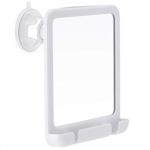 Fogless Shower Mirror for Shaving with Razor Holder, Strong Suction and 360° Swivel, Shatterproof and Anti Fog Design, 8-Inch x 7-Inch (White)