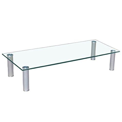 Euro Tische TV-Board TV-Rack Glas in 3 verschiedenen Größen & Farben - perfekt geeignet als Fernsehtisch oder Bildschirmständer, Klar-Glas - 100cm