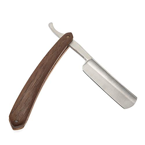 Rasoio a Mano Palissandro Grano di legno classico Barbiere Straight Edge rasoio Coltello da barba pieghevole