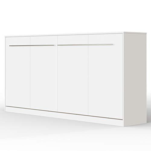 SMARTBett Standard 90x200cm Horizontal Blanco | Cama Abatible, Cama De Pared, Cama Plegable, Cama Oculta