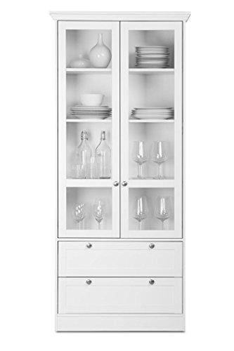 expendio Vitrine Landström 51 weiß 80x200x45 cm Glasvitrine Esszimmerschrank Küchenschrank Landhausmöbel