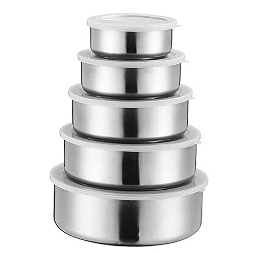 JWDS Ensaladera 5Pcs / Set Bowls De Mezcla De Acero Inoxidable Con Tapas Herméticas Que No Lleva Tazones De Batidor De Pizca Para Ensalada Para Hornear Para Cocinar