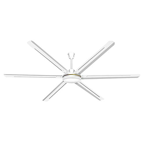 80-Zoll-Deckenventilator in Weiß, großer Wind-Deckenventilator, 6-Blatt-Ventilator, 5-fach einstellbare Windgeschwindigkeit, Durchmesser 200 cm, Motor aus reinem Kupfer, geeignet für Werkstätten