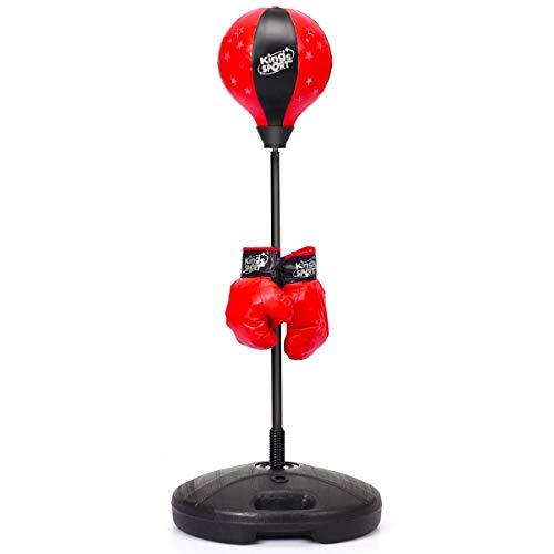 DREAMADE Boxset Standboxsack mit Boxhandschuhen & Pumpe, von 81cm bis 122cm höhenverstellbares Punchingball Set mit Großer Kapazitätsbasis für Kinder über 3 Jahren, rot und schwarz