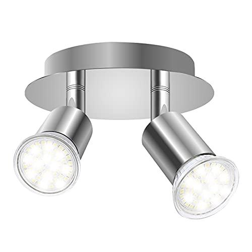DoRight Faretti LED da Soffitto Orientabili 360° Faretto girevole a 2 vie Piatto tondo da 12 cm Faretti da soffitto Basi luminose 2X GU10 per soggiorno, cucina (senza sorgente luminosa)