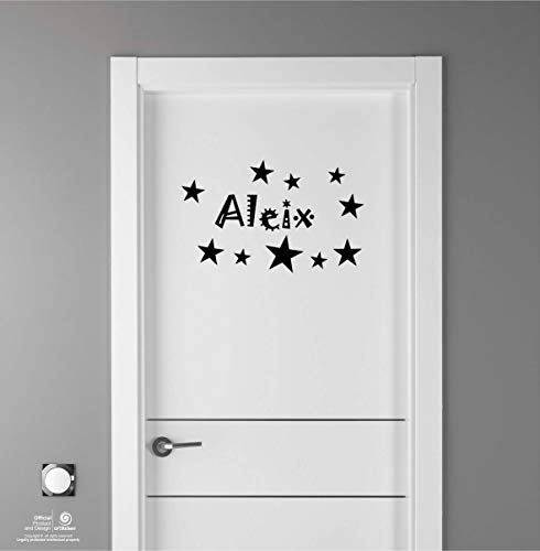 Artstickers Adhesivo Infantil para decoración de Muebles, Puertas, Paredes.Nombre: Aleix, en Color Negro Nombre de 20cm + Kit de 10 Estrellas para Libre colocación.