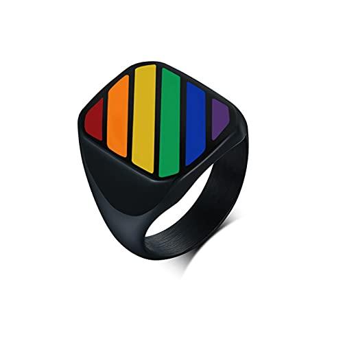 ZiFei Anillos Gay Cuadrados Negros para Hombres Acero Inoxidable Arcoíris Orgullo LGBT Joyería de Boda,8