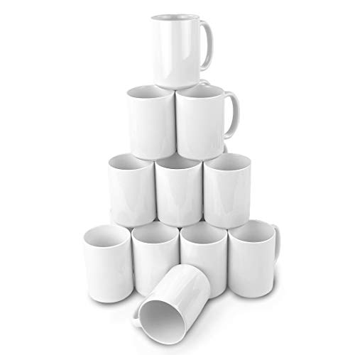 Ceramic Sublimation Blank Mugs (15 oz. - 36 Case, White)