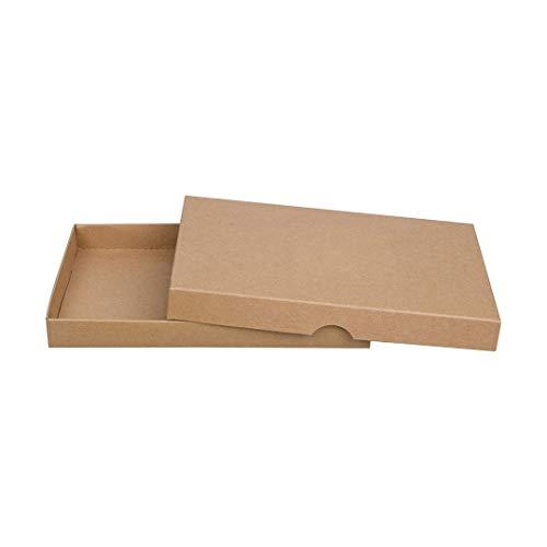 Braune Faltschachtel, 13 x 19 cm, Füllhöhe 20 mm, mit Deckel, Kraftpapier, Kraftkarton, Geschenkschachtel, Fotoschachteln - 10er Set