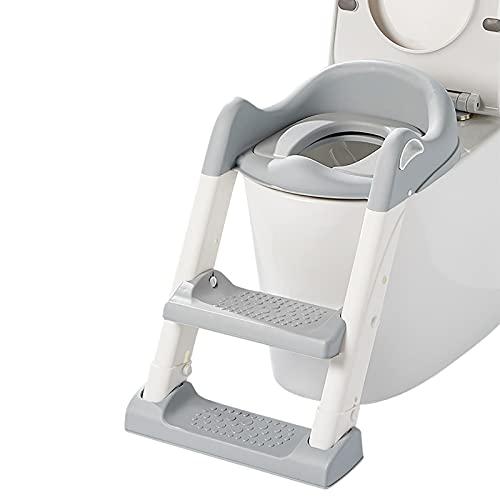 SONARIN Asiento Inodoro Niños con Escalera para Orinal Infantil Formación, Asiento de Entrenamiento para IR al baño, Adaptador WC para Niños Acolchado Suave con Escalón Plegable Ajustable(Gris)