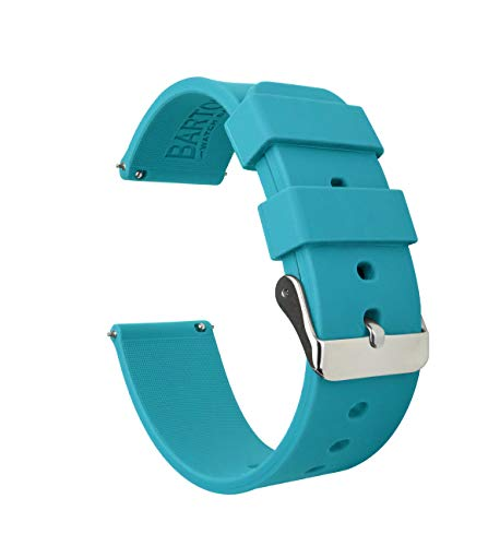 20mm Aqua Blue - BARTON Watch Bands - Soft Silicone Quick Release Straps