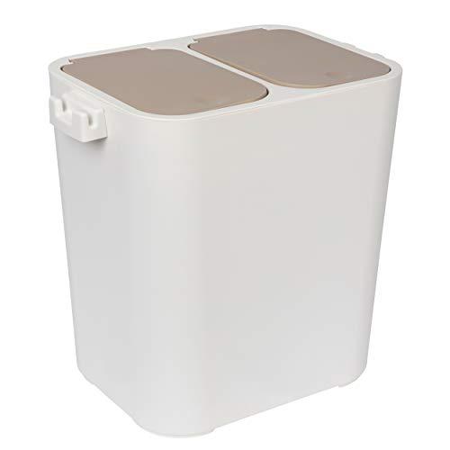 ONVAYA® Mülltrennsystem | 18L | Mülltrennung mit Zwei Fächern | Mülleimer in Creme-weiß | Abfalleimer für Küche & Bad