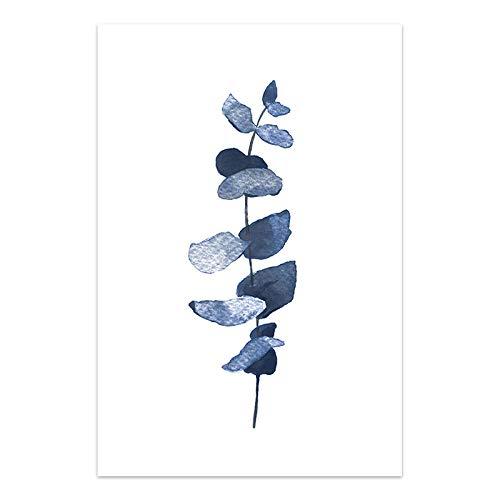 U/N Hojas Lienzo Pintura Azul índigo Carteles e Impresiones botánicos Azul Marino Cuadro de Pared para la decoración del hogar de la Sala de Estar-6