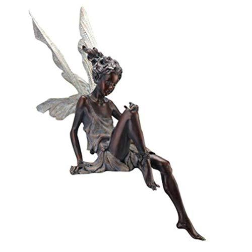 Ornamento da Giardino Statua in Resina Fata Seduta Creativa Decorazione da Giardino Statuetta in Resina Angelo Scultura Modello Artigianato Decorazione per Casa Giardino Cortile Interno Esterno Regalo