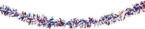 Beistle 6-Ply Metallic Festooning Garland, Red/White/Blue