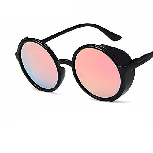 Gafas de Sol Clásico Negro Retro Steampunk Gafas De Sol Hombres Mujeres Diseñador De La Marca Trendy Vintage Colorido Espejo Gafas De Sol Mujer Hombre Uv400 C3Pinkmercury