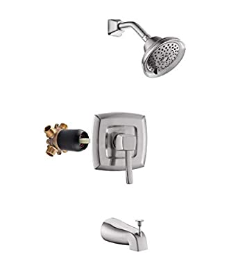 APPASO Shower Faucet & Tub and Valve Set Brushed Nickel, Shower System with 5-Function Spray Head, Single Handle Rain Shower Trim Kit Wall Mount, APT110BN