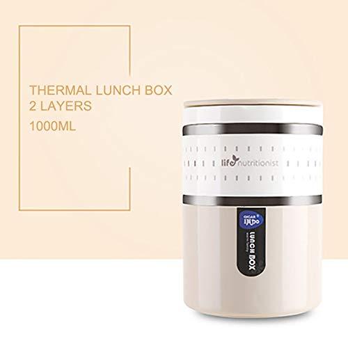 yylikehome 304 Edelstahl Lunchbox Große Kapazität Vakuum Bento Box Kinder Lunchbox Behälter Mit Fächern Für Kinder Beige 2 Schicht