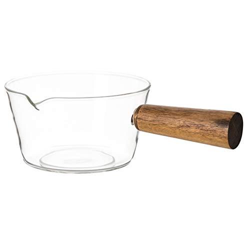 Angoily Olla de Vidrio para Sopa de Leche Olla de Fideos Sartén de Alta Temperatura Pequeña Olla de Cocina Mini Olla de Fusión para Carne Huevo Arroz Frito Sopa de Maíz Caramelo Comida