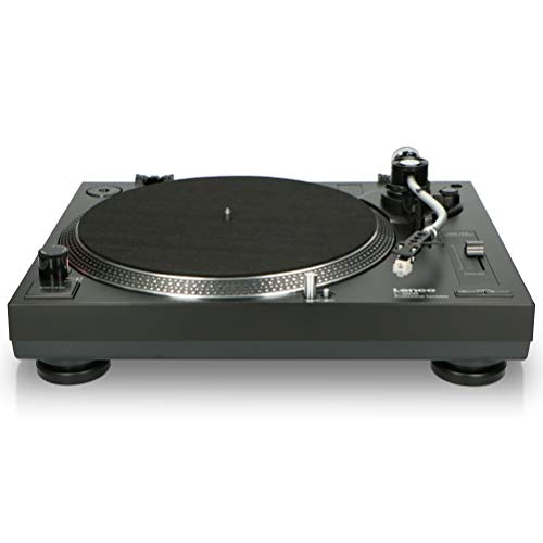 Lenco L-3808 USB DJ-Plattenspieler mit Direktantrieb - 33/45 U/min - Pitch-Control - Magnet-Tonabnehmer-System - Nadelbeleuchtung - Digitalisierung via PC - Staubschutzhaube - schwarz