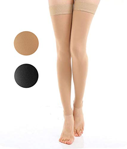 TOFLY Thigh High Compression Stocking Footless for Women & Men, 1 Pair, Opaque, Medical Support Hose 20-30mmHg Graduated Compression with Silicone Band - Varicose Veins, Swelling, Edema, DVT, Beige M