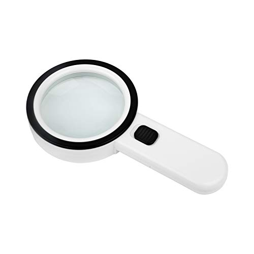 Lupa con luz led de gran aumento X5 y alta potencia. Es grande y de mano. Con su lente de cristal sin distorsión para joyería, lectura, sellos, monedas y personas con baja visión. Tu mejor regalo