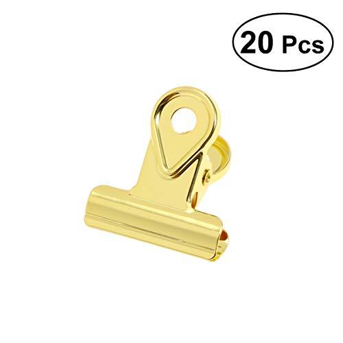 Toyvian Metall-Clips, kleine Scharnierklammern, Edelstahl, für Ordner, Papier, Geld, Zuhause, Büro, 20 mm, goldfarben, 20 Stück
