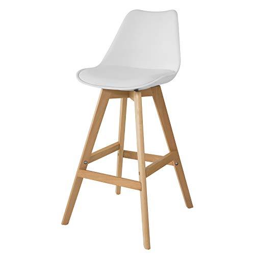 SoBuy FST69-W Barhocker mit Fußstütze Barstuhl Tresenhocker Barstuhl mit Rücklehne Weiß Beine aus Buche Sitzhöhe: 72 cm