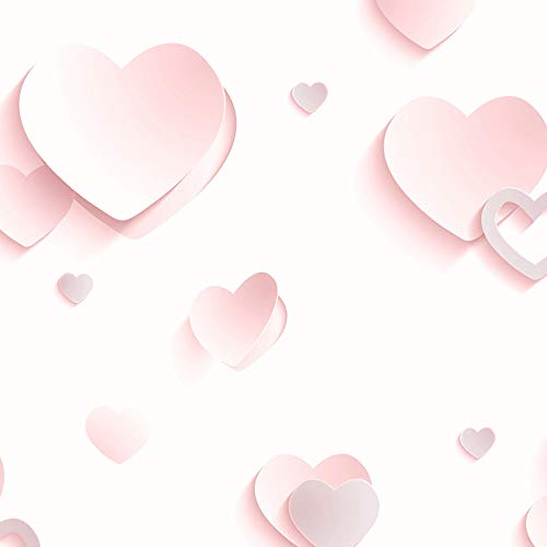 Muriva J92603 Tapete Glitzer-Herzen,Kinder, Mädchen, Schatten 3D-Effekt