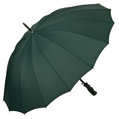 VON LILIENFELD® Regenschirm XXL Sturmfest Auf-Automatik 2-Personen Schirmdurchmesser 103 cm 16 Segmente Colin grün