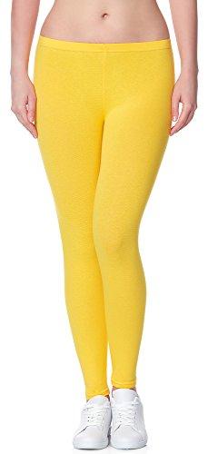 Ladeheid Damen Leggings Long aus Baumwolle LAMA02 (Gelb7, 2XL/3XL)